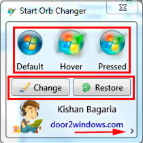 главный интерфейс программы windows 7 start orb changer