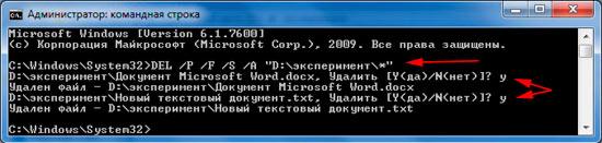 удаление всех файлов в каталоге с подтверждением