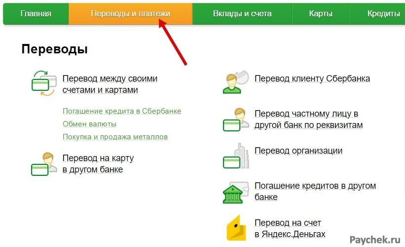 Переводы и платежи в личном кабинете Сбербанк Онлайн