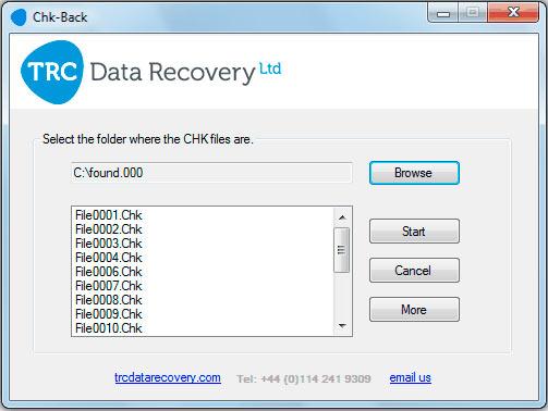 восстановление файлов в программе chk-back