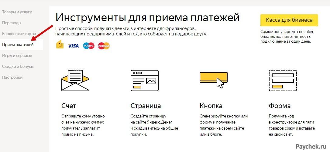 Прием платежей в электронном кошельке ЯндексДеньги