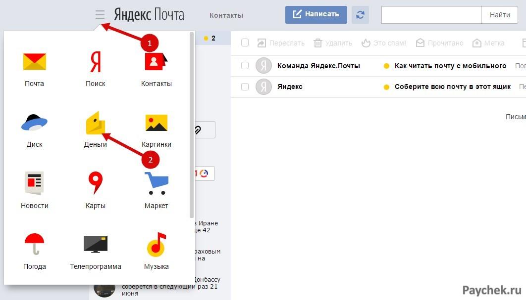 Категория ЯндексДеньги в почтовом ящике Яндекс