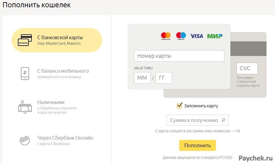 Пополнение Яндекс Кошелька с с банковской карты