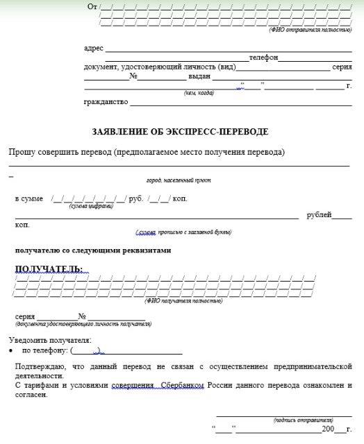 Комиссия «Сбербанка» при блиц переводах