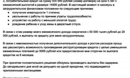 Пример письма банку о невозможности выплатить кредит