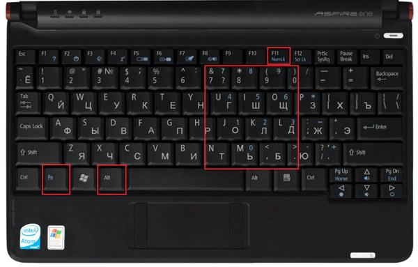 клавиши ноутбука, нетбука