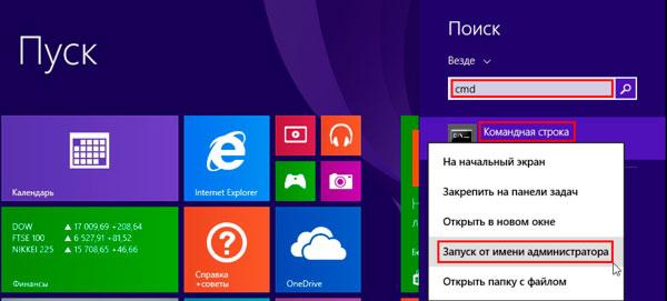 открыть командную строку от имени администратора в windows 8