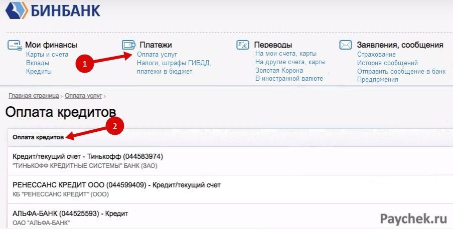 Оплата кредитов через Бинбанк Онлайн