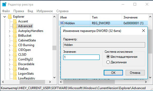 настройки отображения скрытых файлов, папок в реестре windows 10
